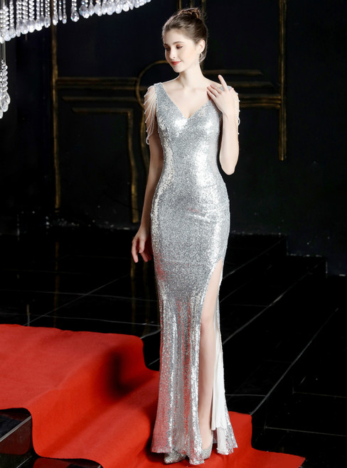 In Stock:Ship in 48 Hours Silver Mermaid Sequins Beading Prom Dress With Split