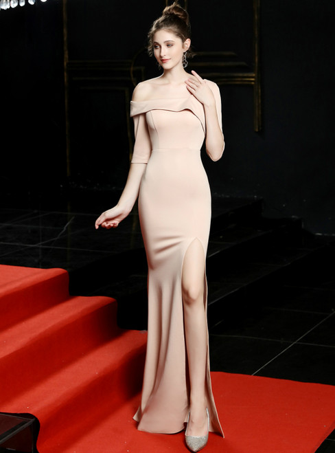 In Stock:Ship in 48 Hours Champagne Mermaid Asymmetry Neck Short Sleeve Prom Dress