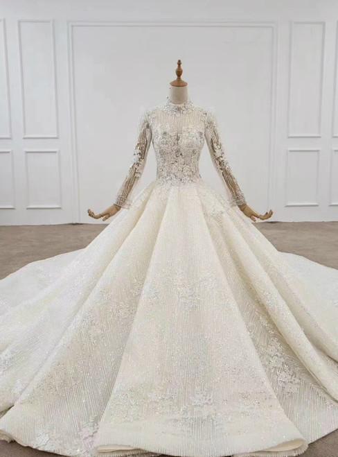Light Champagne Tulle Sequins Long Sleeve High Neck Beading Wedding Dress