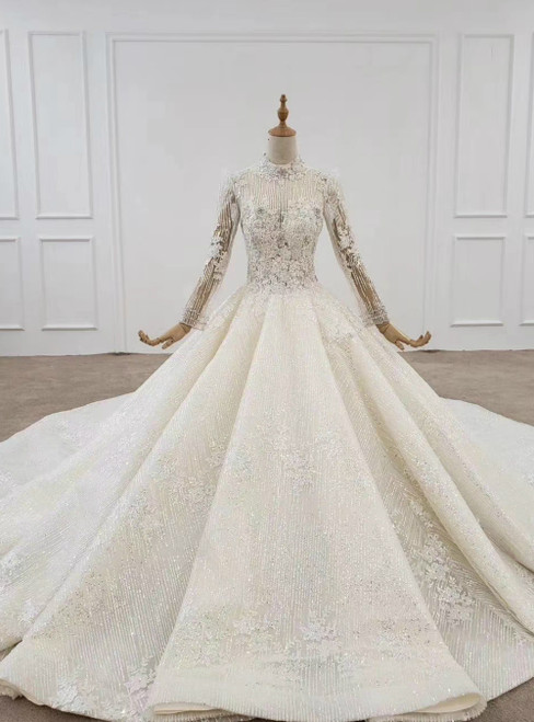 Light Champagne Tulle Sequins Long Sleeve High Neck Beading Wedding Dress