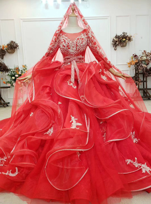 Take Center Stage In Red Ball Gown Tulle Long Sleeve Appliques Beading Wedding Dress