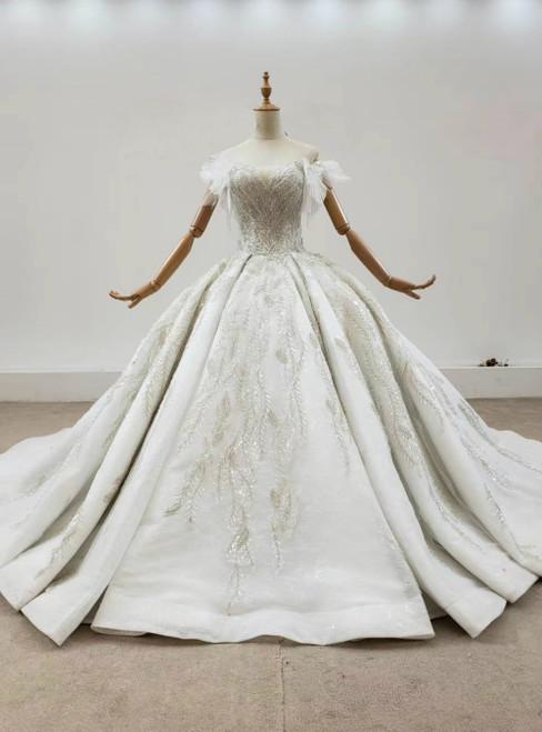 Champagne Tulle Off the Shoulder Sequins Appliques Wedding Dress