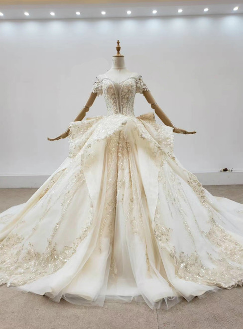 You'Ll Want Champagne Tulle Appliques Sequins Off the Shoulder Wedding Dress With Train