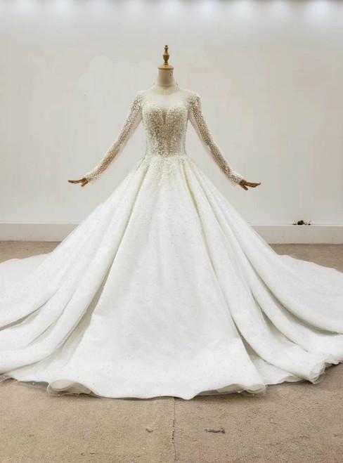 Ivory White Tulle Long Sleeve Handwork Pearls Wedding Dress