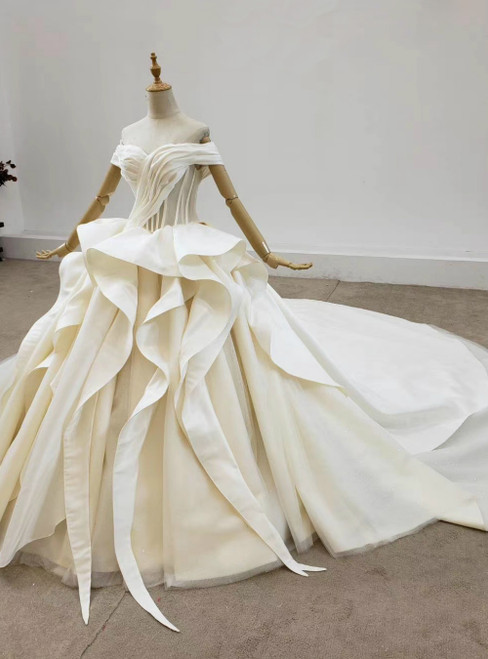 Ivory Ball Gown Satin Tulle Off the Shoulder Pleats Wedding Dress