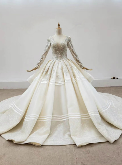 Champagne Tulle Long Sleeve Beading Sequins Backless Wedding Dress