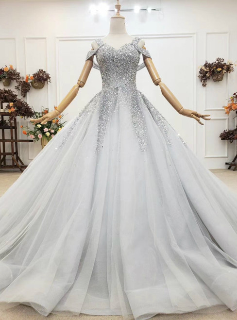 2020 Great Choice Gray Ball Gown Tulle Straps Sleeveless Beading Sequins Wedding Dress