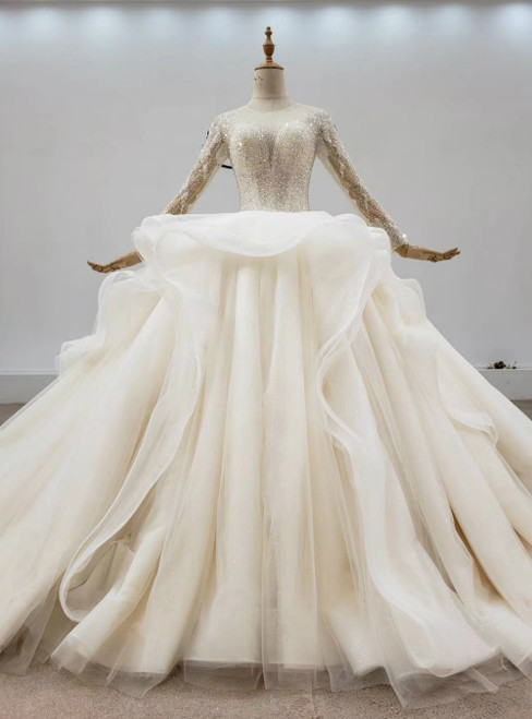 Biggest Sale Champagne Ball Gown Tulle Beading Sequins Long Sleeve Wedding Dress