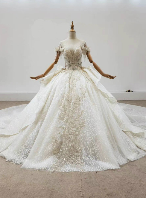 Champagne Ball Gown Tulle Sequins Short Sleeve Beading Bow Wedding Dress