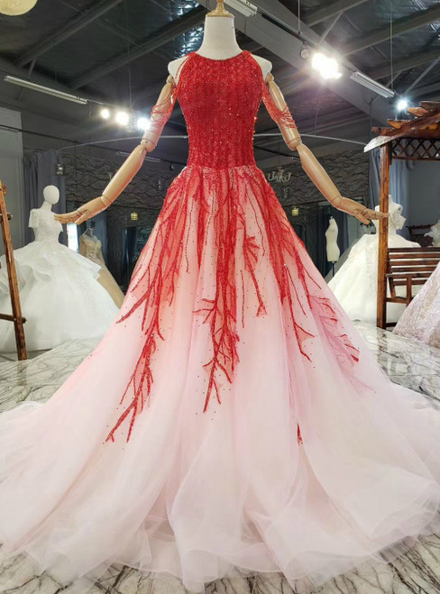 Find Plenty Of A-Line Pink Tulle Red Beading Open Back Sleeveless Prom Dress