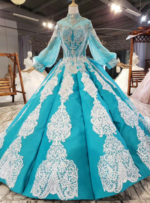 Blue Tulle Satin Long Sleeve High Neck Appliques Beading Crystal Prom Dress
