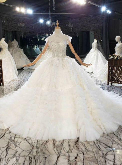 Champagne Ball Gown Tulle Sequins Appliques High Neck Beading Wedding Dress