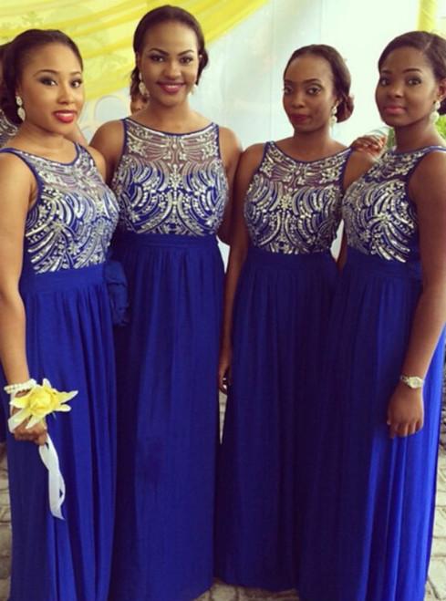 long bridesmaid dress royal blue bridesmaid dress round neck bridesmaid dress