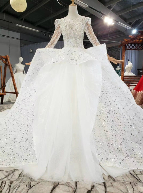 White Ball Gown Tulle Beading Sequins Long Sleeve Backless Wedding Dress