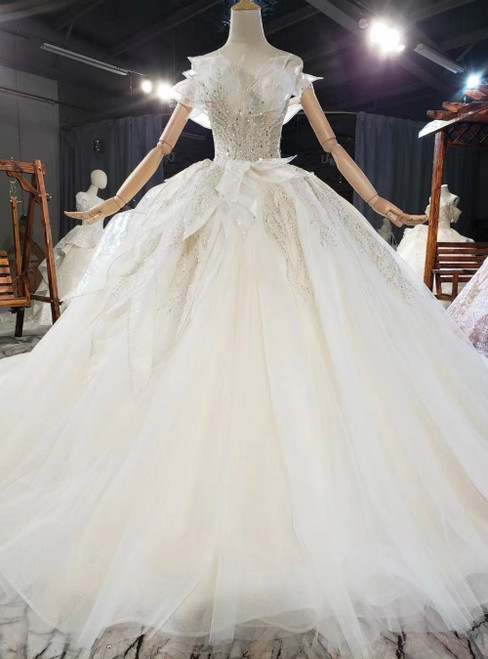 Light Champagne Ball Gown Tulle Sequins Off the Shoulder Wedding Dress