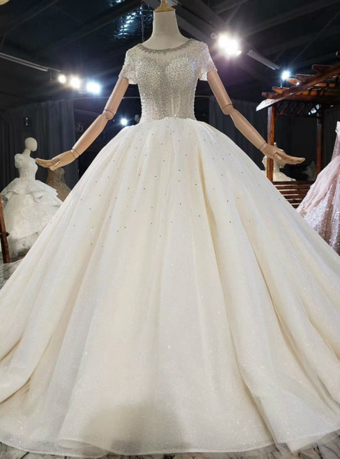 Champagne Ball Gown Tulle Sequins Beading Short Sleeve Wedding Dress