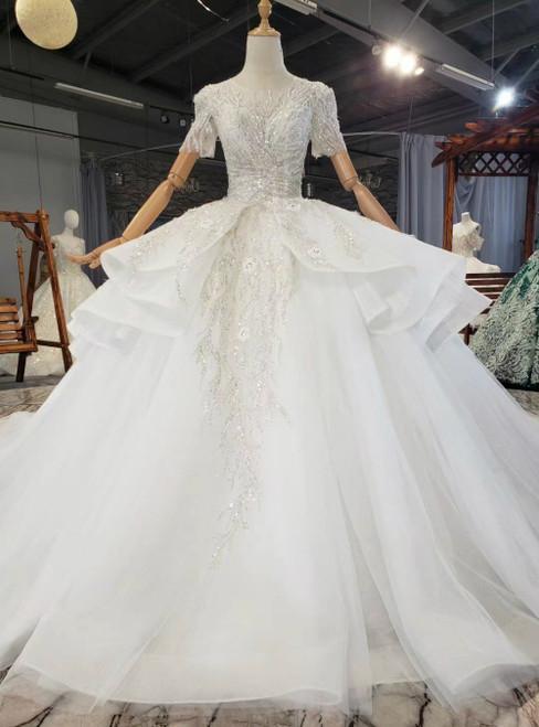 White Tulle Sequins Beading Short Sleeve Backless Wedding Dress