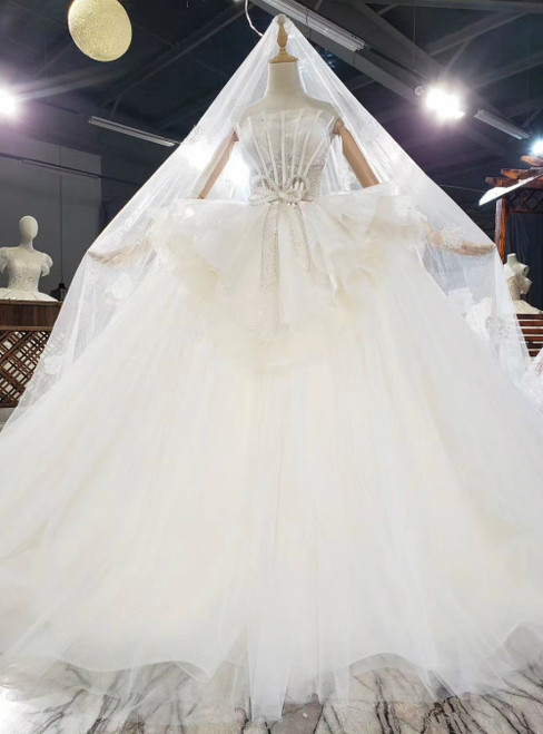 Light Champagne Tulle Strapless Beading Sequins Wedding Dress