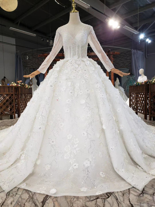 Ivory Ball Gown Tulle Long Sleeve Beading Sequins Appliques Wedding Dress