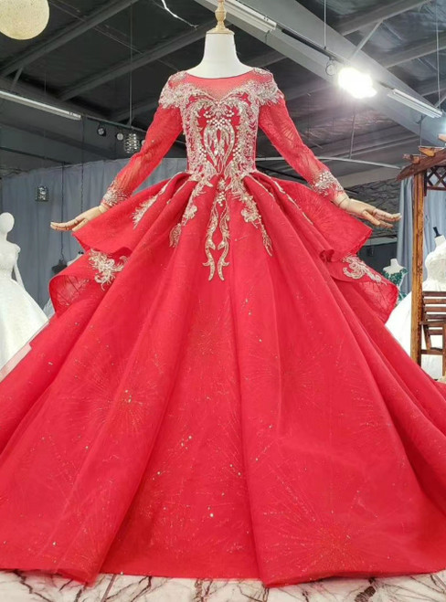 Red Ball Gown Tulle Sequins Appliques Long Sleeve Wedding Dress