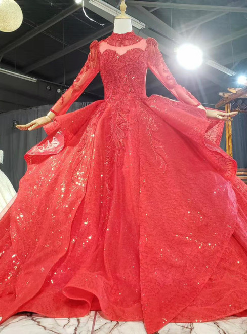 Red Ball Gown Tulle Sequins Long Sleeve High Neck Beading Wedding Dress