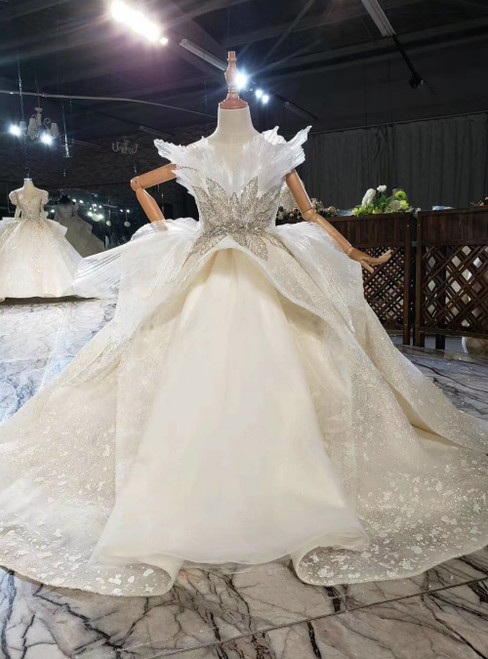 Fashion Champagne Ball Gown Tulle Sequins Backless Flower Girl Dress