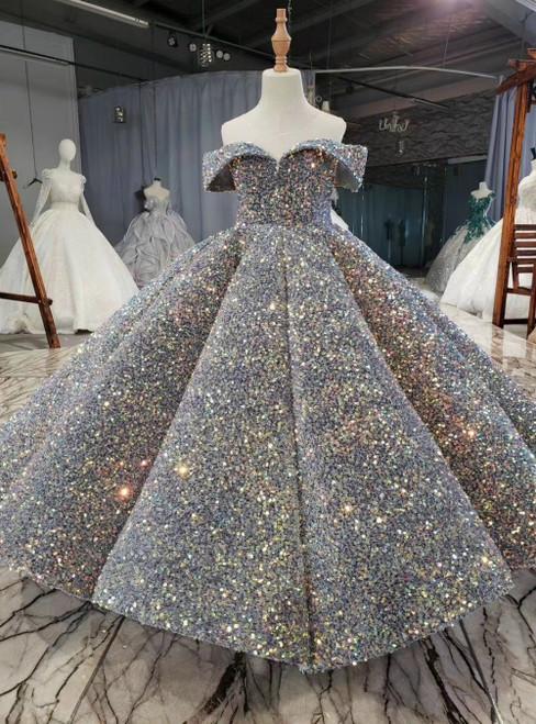 Gray Ball Gown Sequins Backless Sleeveless Flower Girl Dress