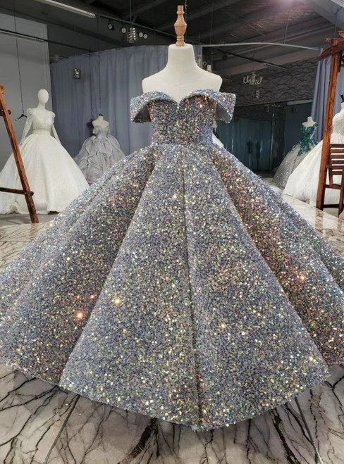 Gray Ball Gown Sequins Backless Sleeveless Flower Girl Dress