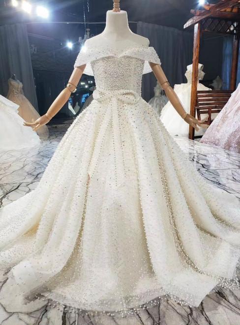 Light Champagne Tulle Beading Pearls Open Back Flower Girl Dress