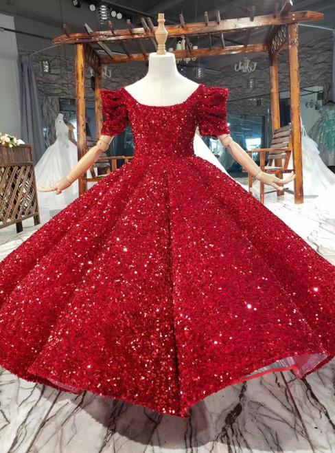 Burgundy Ball Gown Sequins Square Short Sleeve Flower Girl Dress