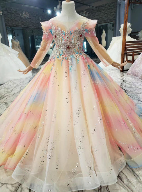 Colorful Tulle Sequins Long Sleeve Beading Crystal Flower Girl Dress