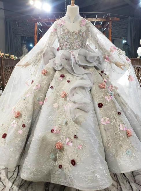 Gray Ball Gown Tulle 3D Appliques High Neck Flower Girl Dress