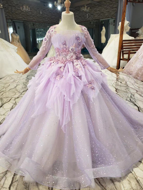 Purple Ball Gown Tulle Appliques Sequins Long Sleeve Flower Girl Dress