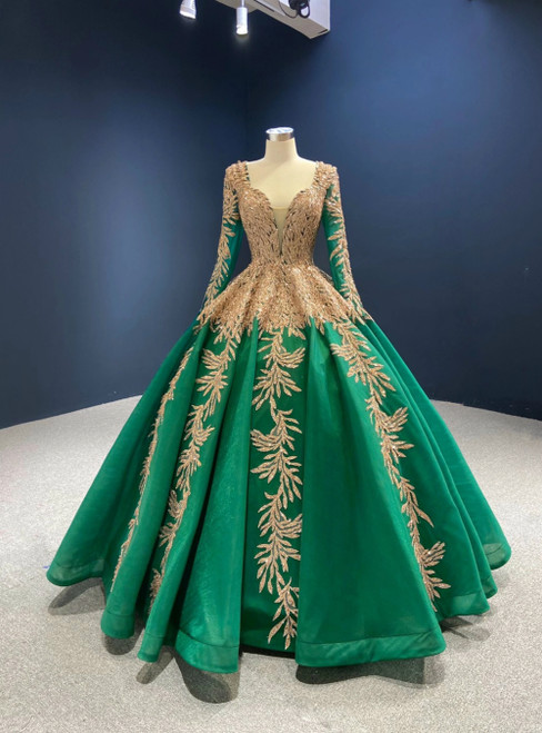 Green Ball Gown Tulle Gold Sequins Appliques V-neck Prom Dress