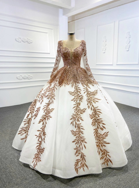 White Ball Gown Tulle Gold Sequins Appliques V-neck Prom Dress