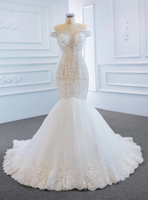 Sexy White Mermaid Tulle See Through Off the Shoulder Beading Wedding Dress