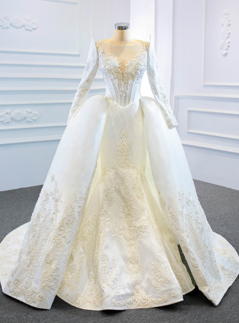 White Mermaid Satin Appliques Long Sleeve Beading Wedding Dress