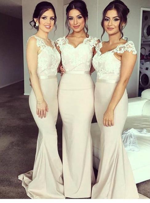 Mermaid Bridesmaid Dress Cap Sleeve Bridesmaid Dress Lace Bridesmaid Dress