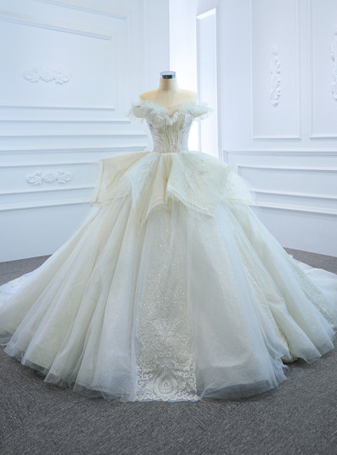 White Ball Gown Tulle Sequins Appliques Off the Shoulder Wedding Dress