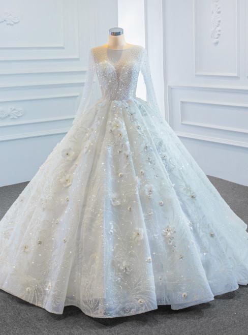 White Ball Gown Tulle Long Sleeve Beading Sequins 3D Flower Wedding Dress