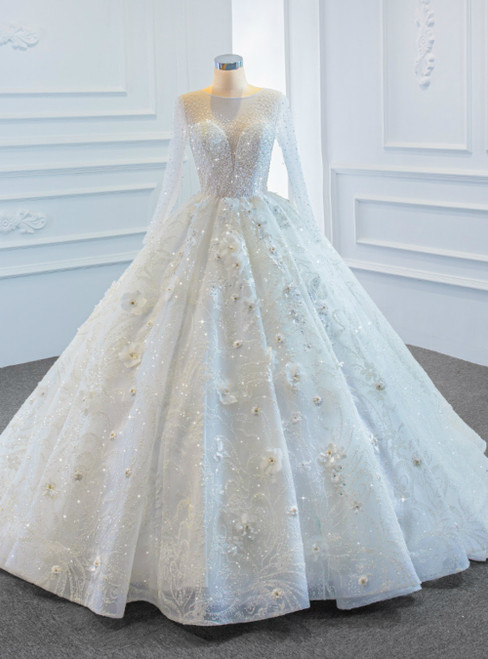 White Ball Gown Tulle Long Sleeve Beading Sequins 3D Flower Wedding Dress