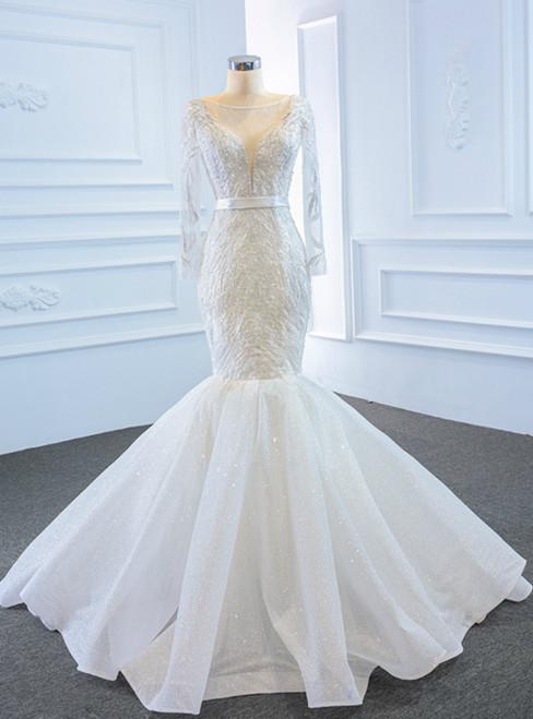 White Mermaid Tulle Long Sleeve Beading Long Wedding Dress
