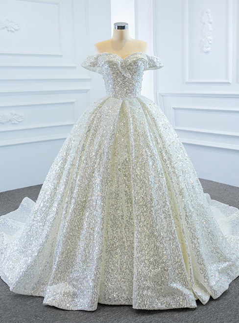 White Ball Gown Tulle Sequins Off the Shoulder Pearls Wedding Dress