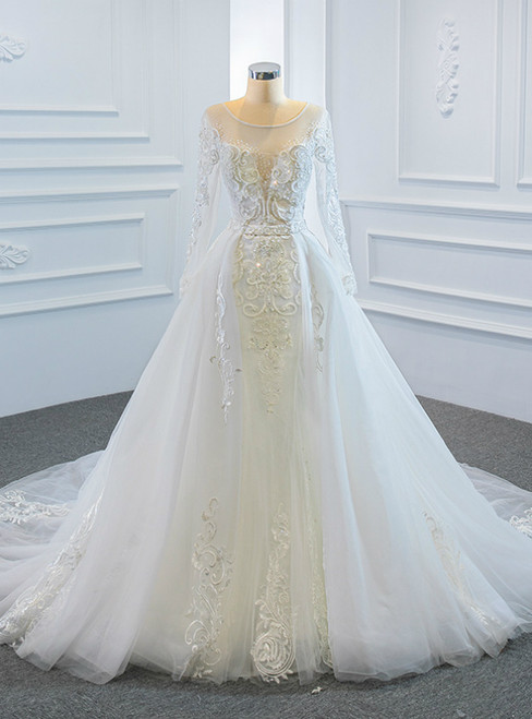 White Tulle Long Sleeve Beading Wedding Dress With Removable Train