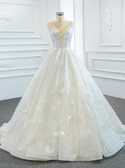 White Ball Gown Tulle Sequins Feather Sleeveless Wedding Dress