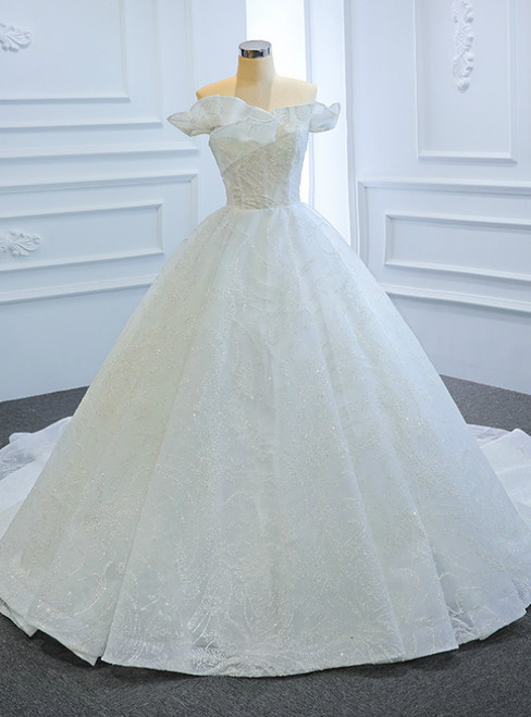 White Ball Gown Tulle Sequins Off the Shoulder Wedding Dress
