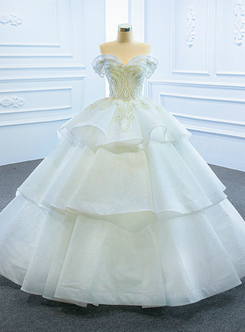 Fashion White Ball Gown Tulle Sequins Off the Shoulder Beading Wedding Dress