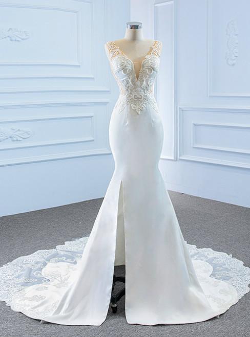 White Mermaid Satin Tulle V-neck Appliques Beading Wedding Dress With Split