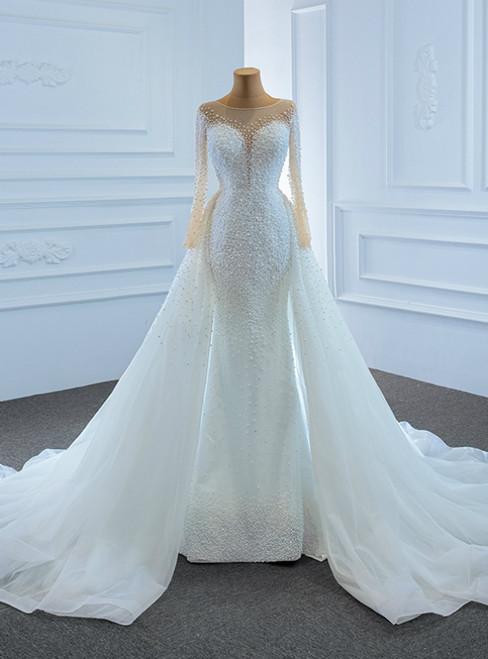 Luxury White Mermaid Tulle Long Sleeve Hand Work Pearls Wedding Dress