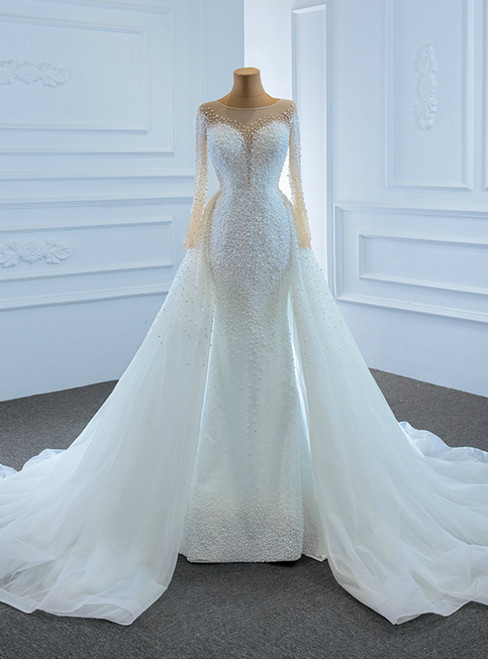 Luxury White Mermaid Tulle Long Sleeve Hand Work Pearls Wedding Dress